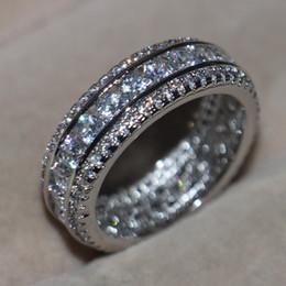 $enCountryForm.capitalKeyWord Australia - Wholesale Professional Luxury Jewelry 10KT White Gold Filled White Sapphire CZ Diamond Round Cut Pave Setting Party Wedding Band Ring Gift