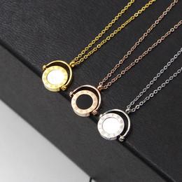 Gold Pendant Korea Australia - New South Korea Half circle black and white double shells of Rome digital boys girls Pendant Necklace titanium steel chain