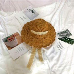 Hollow Fiber Australia - 2019 new hot fashion factory direct new Lafite hollow fan-shaped large visor handmade straw hat sunscreen beach hat
