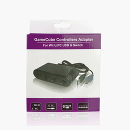 game port 2019 - 4 Ports GameCube Controller Adapter for Wii U PC USB Switch Game Converter IN retail package 40pcs lot
