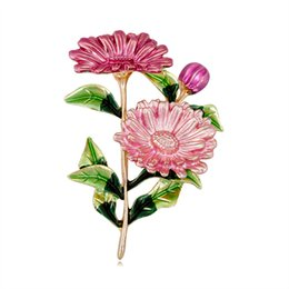 Flower Brooches UK - 2019 Fashion Flower Pin Brooch for Scarf Cute Enamel Pins and Brooches for Women New Metal Brooch Badge for Shawl