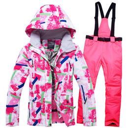 Ski Suits For Children Australia - Girls Ski Suits Waterproof Warm Winter Outdoor Sport Jacket Skiing And Snowboarding Suit Snow Jacket For Children