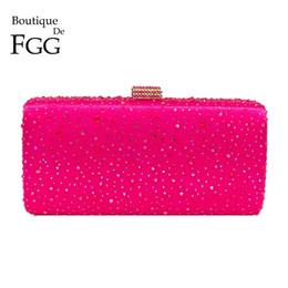 $enCountryForm.capitalKeyWord Australia - Boutique De Fgg Hot Pink Fuchsia Crystal Clutch Evening Bags Women Diamond Metal Box Handbag Wedding Party Clutches Bridal Purse Y19051702