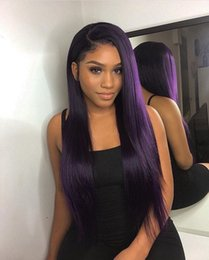 Brown Purple Blue Wig NZ - Ombre Color Blue Straight Human Hair Wigs Purple Brazilian Hair Density 180% wig Pre Plucked hairline 4* 4 Human Hair Lace Front Wigs