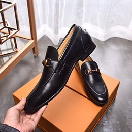 $enCountryForm.capitalKeyWord Australia - 39-44eu 2019 spring summer fall mens black brown Genuine leather flat Rubbe sole buckle strap dress Loafers
