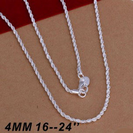 $enCountryForm.capitalKeyWord NZ - Hot Selling 925 sterling silver Necklaces Jewelry Twist ROPE CHAIN Necklace 4MM 16inch 18inch 20inch 22inch 24inch Free Shipping