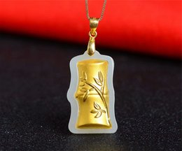 $enCountryForm.capitalKeyWord Australia - 24K Pure Gold Inlaid Natural Hetian White Jade Pendant Silver 925 Jewelry Necklace Gift