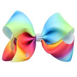 $enCountryForm.capitalKeyWord Australia - 8 inch giant JOJO SIWA Style 18cm big rainbow bowknot hair clip pins hairclips with crystals bow hair accessories for kids children