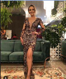 Yousef aljasmi labourjoisie online shopping - Evening dresses Long dress Kim kardashi Sheath Mermid V Neck Purple Crystal Appliques Split Long sleeve Yousef aljasmi Labourjoisie