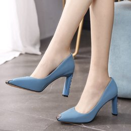 $enCountryForm.capitalKeyWord NZ - Current2019 Defence 8cm Kick Rough With High-heeled Woman Square Occupation Women's Shoes Autumn All-match Commute Girl Single Shoe