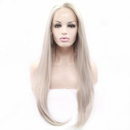Long siLver cospLay wig online shopping - Silver Gray Long Silky Straight Synthetic Lace Front Wig for Women Glueless Heat Resistant Drag Queen Cosplay Wigs inch