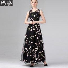 Xxl One Piece Dresses NZ - 2019 summer fashion women's one piece dress brand designer dress Embroidery applique sleeveless runway dresses dresses XL XXL black D1007