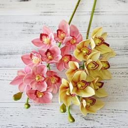 3d flower decorations for home NZ - Real Touch 3d Printing Artificial Cymbidium Orchid Flower Latex Hand Feel Simulation Flower For Home Wedding Decoration