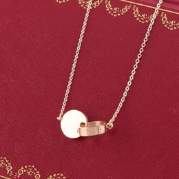 Necklaces Pendants Australia - 18K Rose Gold plated Disc Pendant Chain Necklace Women Stainless steel Wedding Necklace with Original box Set