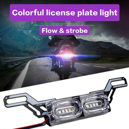 honda motorcycle lights NZ - 1 Piece Motorcycle DRL Strobe brake Lamp LED Flash Stop Light flow RGB colorful LED License Plate tai police warning day light