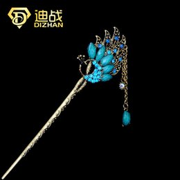 Wholesale Vintage Chinese Classical Ladies Hair Tools Accessories Peacock Hair Sticks Butterfly Hairpins Tiara Hair Jewelry for women C19010501