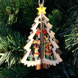 Christmas deCor for outdoor online shopping - Mini Christmas Tree Star Wooden Hanging Decor for Home Outdoor Navidad Decorations for Home New Year Pendant