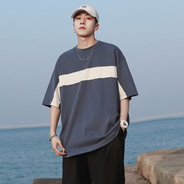 round neck tees Australia - EWQ   men's wear 2020 summer color block patchwork loose round neck T-shirt for men loose casual korean tide tee big size 9Y1644