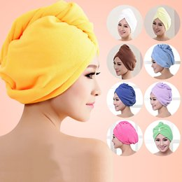 Discount hair wrap magic towel - Shower Caps Towel Women Microfiber Magic Shower Caps Hair Dry Drying Turban Wrap Towel Hat Cap Quick Dry Dryer Bath 10 C