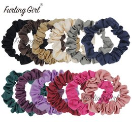pony tails plates Australia - Girl Pack Of 12 Satin Scrunchies Fabric Elastic Hair Bands Ponytail Holder Hair Accessories Black mix Colors Hair Ties