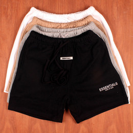 19SS Mens Summer Shorts Pants FOG ESSENTIALS Embroidered Reflective Casual Fashion Drawstring Running Shorts Fitness High Street on Sale