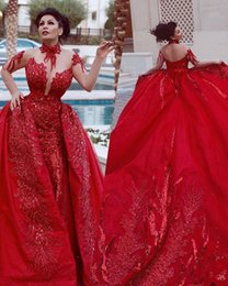 Jacket removable sleeves online shopping - Arabic Red High Collar Prom Dresses With Overskirts Removable Train Said Mhamad Long Sleeves Sequins Backless Mermaid Evening Gowns
