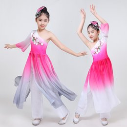 $enCountryForm.capitalKeyWord NZ - New High Quality 2019 Children's Classical Costumes Chinese Style Ancient Dance Elegant Female Yangko Clothing Dance Gray