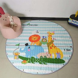 Discount carpet bags wholesale Kids Room Floor Carpets Organizer Blanket Rug Baby Creeping Mats Toy Storage Bags Cartoon Animals Play Game Mat Crawling