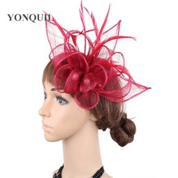 Wholesale Wine red sinamay fascinator headpiece feather wedding headwear Fancy color race hair accessories chi millinery church hat SYF477