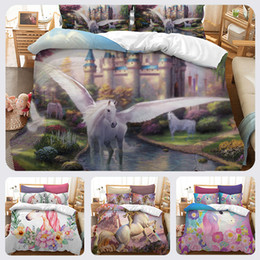 Plain White Bedding Australia - Lucky Home 3D Cartoon Unicorn Patern Bedding Set Chilren Bed Home Textile Twin Size Hotel Bedding Sheet Sets for Baby ,Adults Animal Sets