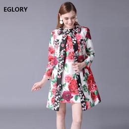 $enCountryForm.capitalKeyWord Australia - 2018 Trench Coat Autumn Winter Plus Size 4xl 5xl 6xl Women Vintage Rose Flower Jacquard Print Dobby Long Sleeve Long Coat