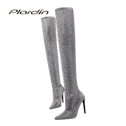 Cloth Materials Australia - Plardin Winter Concise Fashion women's Pumps Bling Wool Fabric Material Thin Heel Woman Shoes Over The Knee Boots Woman Boots