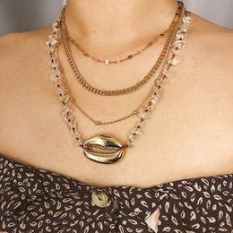 Ingrosso Accessorio dei monili della collana della catena del pendente di Shell delle perle di strati multipli delle donne eleganti
