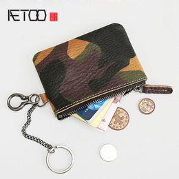pp leather 2019 - BJYL Retro men's leather wallet mini coin purse camouflage short zipper purse men's bag waist bag waist hangin