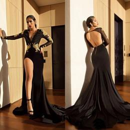 $enCountryForm.capitalKeyWord Australia - Black Mermaid Gold Applique Evening Dresses 2019 Long Sleeves Deep V-Neck High Split Backless Prom Gowns Maxi Dress