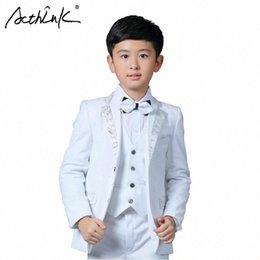 kids blazers UK - ActhInK New Boys White Blazer Wedding Suit Brand Kids 4PCS Formal Suit with Bowtie Flower Boys Party Tuxedos Costume Suit, C269 2lyu#