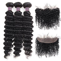 Cheap weave frontal online shopping - Indian Human Hair Bundles With Closure Cheap Brazilian Hair Bundles With Lace Frontal Deep Wave Virgin Hair Extensions