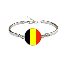 $enCountryForm.capitalKeyWord Australia - Personalized Belgium National Flag World Cup Football Fans Time Gem Glass Dome Button Bracelets for Women Men Link Chain Party Jewelry Gifts