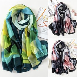 $enCountryForm.capitalKeyWord Australia - Womens Print Satin-Silk Rectangle Scarf Wrap Lady Shawl Beach Scarves Stole Two Patchwork Colors Silk Scarf