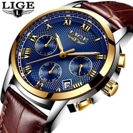 Luxury Fashion Brand Quartz Watch Australia - Lige Fashion Sport Mens Watches Top Brand Luxury Gold Quartz Watch Men Leather Waterproof Military Wrist Watch Relogio Masculino Y19051603