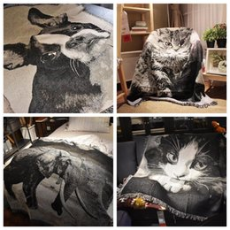 $enCountryForm.capitalKeyWord NZ - Sofa Blanket Nordic Modern Blanket for Sofa and Bed 100% Cotton Thread Cat dog elephant Pattern Tapestry Home Decoration