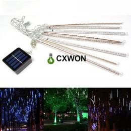Chinese  LED Strip Light 30CM 144LED Solar Meteor Shower Rain Tube Christmas String Light Wedding Party Garden Outdoor Holiday Lighting manufacturers