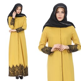 long turkish robe NZ - Muslim Lace Long Robe Arab Middle Eastern Women's Long Sleeve Robe Dress Cardigan Robe Turkish Clothing Without Scarf