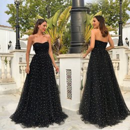$enCountryForm.capitalKeyWord Australia - Elegant Long V Neck Prom Dresses Sleeveless Sweep Train Chiffon Black A-line Formal Evening Dresses Gown Vestido De Noche 2019