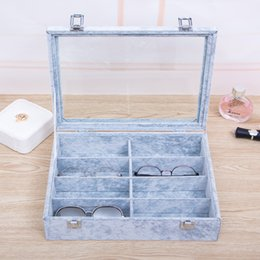 Discount modern black beds - 8 Slot Eyeglass Organizer Sunglasses Storage Box Creative New Style Glasses Display Case Storage Organizer Collector