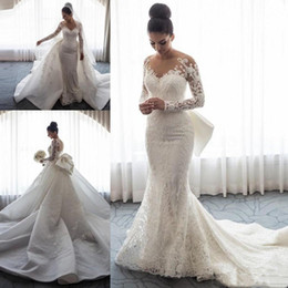 $enCountryForm.capitalKeyWord Australia - Luxury Mermaid Wedding Dresses Sheer Neck Long Sleeves Illusion Full Lace Applique Bow Overskirts Button Back Chapel Train Bridal Gowns