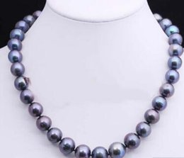 Genuine Cultured Black Pearls Australia - necklace Free shipping 12-14MM LARGE GENUINE BLACK GRADUATED CULTURED FRESHWATER PEARL NECKLACE