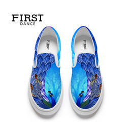 Custom Print Canvas Australia - Custom Shoes Peacock 3D Printing Women's Lightweight Loafers Jogging Casual Girls Canvas Slip Up Sneaker Color Blue Big Size