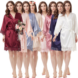 Wholesale brides robes resale online - 2019 New Women s Robes Matte Satin Kimono Wedding Robe for Bride and Bridesmaid with Lace Trim
