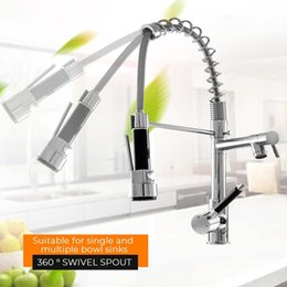 led kitchen taps spout Canada - Kitchen Chrome 360 Rotation Pull Out Side Spring Faucet Sprayer Dual Spout Single Handle Mixer Tap Sink Faucet Deck Mounted T200423